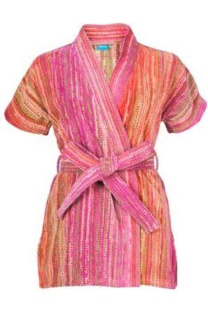 Women Kimonos - Women's Natural Fibres Pink Cotton Grass Beach Kimono Small Elaiva