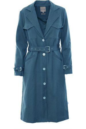 Women Trench Coats - Women's Natural Fibres Blue Cotton The Halah Trenchcoat In Medium IMAIMA