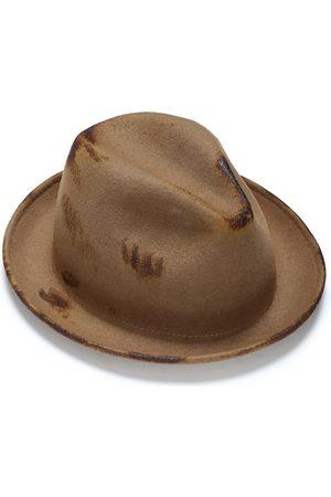 Men Hats - Men's Artisanal Brown Wool Fedora Hat With Handmade Texture 56cm Justine Hats