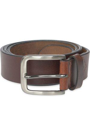 Men's Brown Stainless Steel Handmade Leather Belt 44in VIDA VIDA