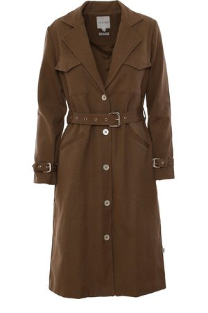 Women Trench Coats - Women's Natural Fibres Olive Cotton The Halah Trenchcoat In Large IMAIMA