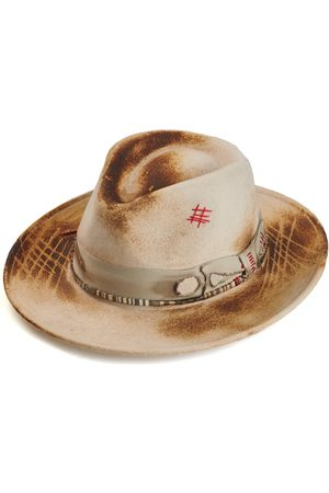 Men Hats - Men's Artisanal White Cotton Hand Crafted Fedora Hat 56cm Justine Hats