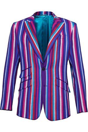 Men's Low-Impact Purple Cotton Striped Blazer Kamba Large KOY Clothing