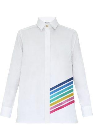 Women Flares - Women's White Cotton Mykonos Printed Shirt Medium My Pair of Jeans
