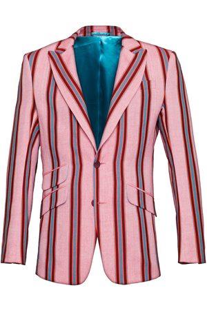 Men's Low-Impact Pink Cotton Striped Blazer Gusii 3XL KOY Clothing