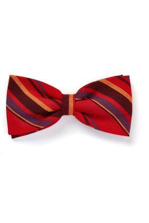 Men Bow Ties - Men's Low-Impact Red Cotton Striped Mara Self-Tie Bow Tie KOY Clothing