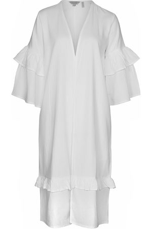 Women Kimonos - Women's Natural Fibres White Cotton The Avira Kimono In Medium IMAIMA