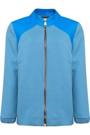 Women Leather Jackets - Women's Artisanal Blue Wool Luna & Leather Bomber Jacket Medium Manley
