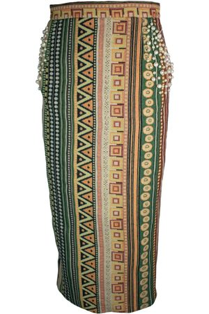 Women Pencil Skirts - Women's Artisanal Green Silk Pencil Skirt With Pearl Embroidery Small relax baby be cool