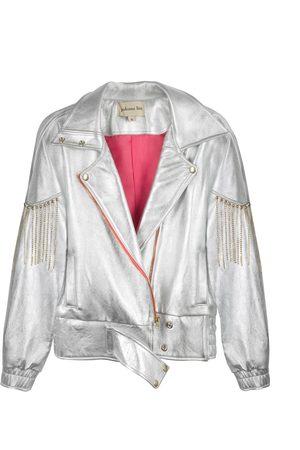 Women's Silver Leather Jacket Medium Paloma Lira