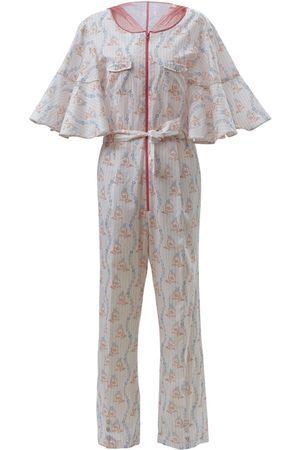 Women's Artisanal Pink/Purple/White Cotton Mata Hari Onesie Stripe Cookie Small By Moumi