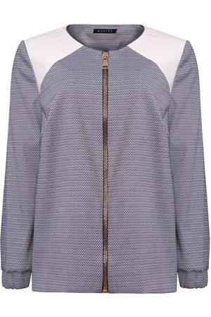 Women Leather Jackets - Women's Artisanal White Cotton Luna Leather Detail Bomber Jacket - Navy Medium Manley