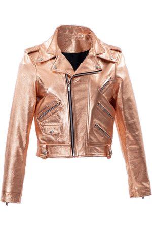 Women Leather Jackets - Women's Metallic Leather Aroid XS ALEXIA ULIBARRI