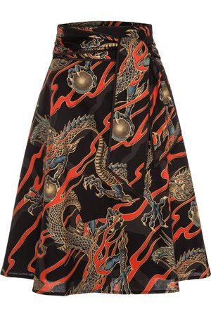 Women Printed Skirts - Women's Non-Toxic Dyes Black Cotton A-Line Skirt With Tie Belt & Dragon Print XXL Marianna Déri