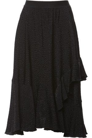 Women Printed Skirts - Women's Black Fabric Ruffled Print Skirt XXS Nissa