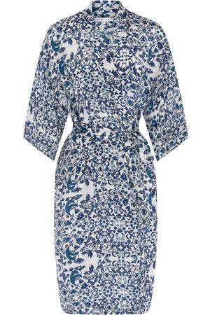 Women Kimonos - Women's Blue Silk Delilah Kimono Large Genevie