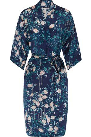 Women's Blue Silk Delphine Kimono XL Genevie