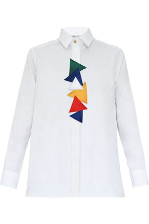 Women Flares - Women's White Cotton Triangles Shirt Large My Pair of Jeans