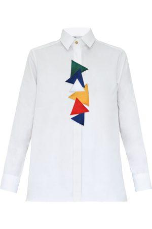Women Flares - Women's White Cotton Triangles Shirt Medium My Pair of Jeans