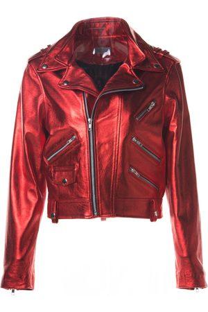 Women Leather Jackets - Women's Metallic Leather Biker Ored Small ALEXIA ULIBARRI