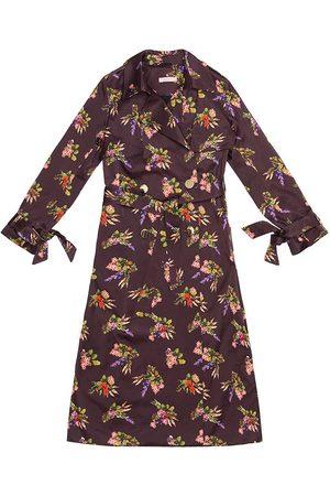 Women Trench Coats - Women's Artisanal Cotton Geza Lame Flower Print Trench Coat Medium Tomcsanyi