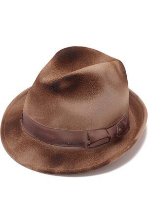 Men Hats - Artisanal Brown Cotton Felt Hat For Men 55cm Justine Hats