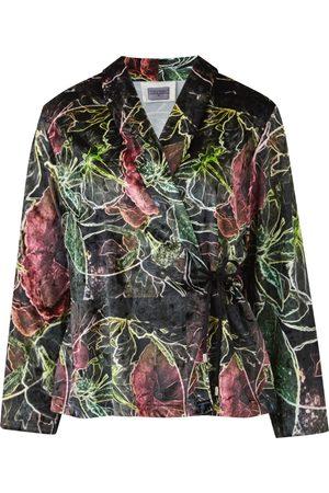 Women Wrap tops - Women's Fabric Mica Wrap Top Blazer In Velour Fruitage Print XS COCOOVE