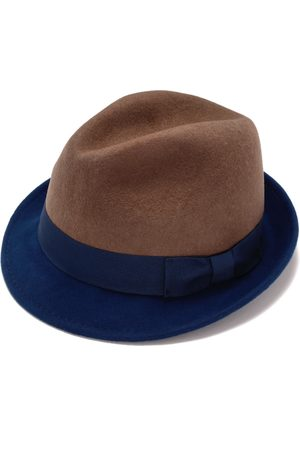 Men Hats - Artisanal Blue Cotton Classic Felt Fedora Hat For Men 56cm Justine Hats