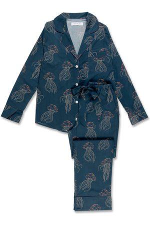 Women's Organic Blue Cotton Jellyfish Midnight Long Set Large Moon + Mellow