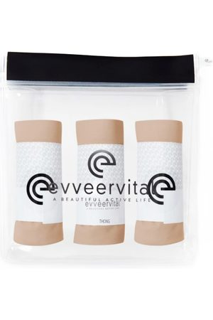 Women's Low-Impact Natural Cotton Three Pack Of Smooth Finish Thongs Coco Butter Small EVVEERVITAL