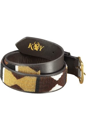 Men's Low-Impact Brown Brass Dunia Beaded Belt Wide 34in KOY Clothing