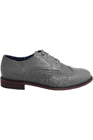 Men's Grey Leather Follie Brogue Shoes 10 UK Lords of Harlech