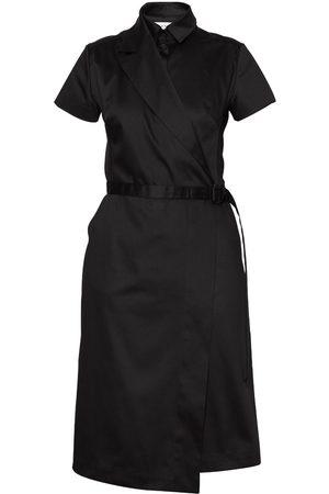 Women Asymmetrical Dresses - Women's Artisanal Black Cotton Asymmetric Blazer Dress Large Talented