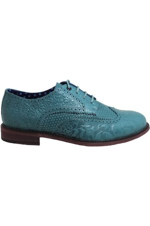 Men's Teal Leather Follie Brogue In Shoes 9 UK Lords of Harlech