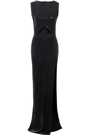 Women's Artisanal Black Silk Moss Metallic Cut Out Bodycon Maxi Dress XS Sarvin