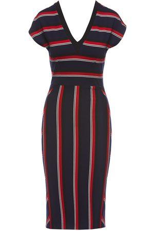 Women's Blue Fabric Striped Print Bodycon Dress XXL Nissa