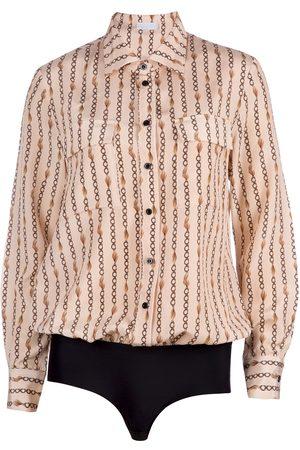 Women Body Jewelry - Women's Silk Chain Print Blouse Shirt Bodysuit Medium Ukulele