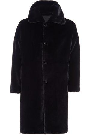 Men Fleece Jackets - Men's Artisanal Black Fabric Sam Teddy Coat 36in N'Onat