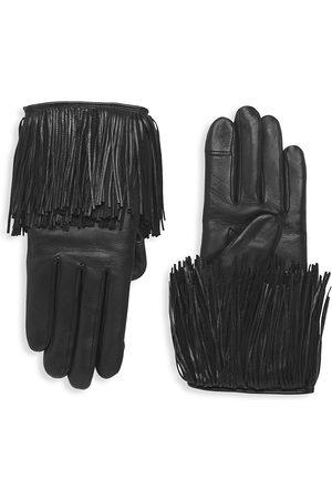 AGNELLE Lambskin Fringe-Trim Gloves