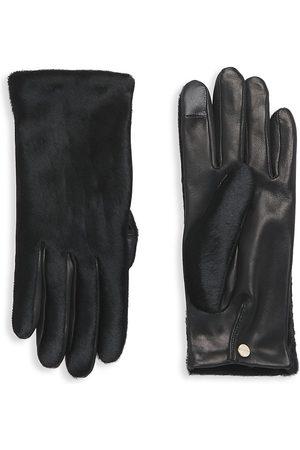 AGNELLE Lambskin & Printed Calf Gloves