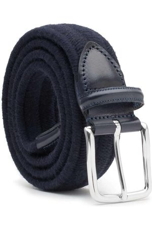 Men's Carbon Neutral Blue Brass Elastic Braided Wool Belt Fabiano 34in Dalgado