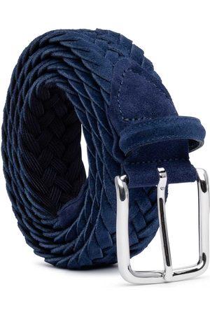 Men's Carbon Neutral Blue Brass Braided Suede Belt Emiliano 34in Dalgado