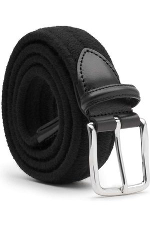 Men Belts - Men's Carbon Neutral Black Brass Elastic Braided Wool Belt Giorgio 42in Dalgado