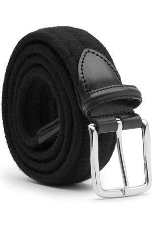 Men Belts - Men's Carbon Neutral Black Brass Elastic Braided Wool Belt Giorgio 44in Dalgado