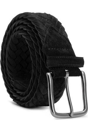 Men's Carbon Neutral Black Brass Braided Suede Belt Ernesto 44in Dalgado