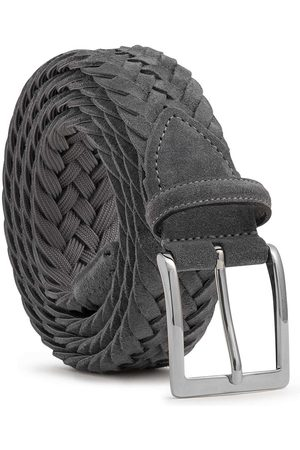 Men's Carbon Neutral Grey Brass Braided Suede Belt Francesco 34in Dalgado