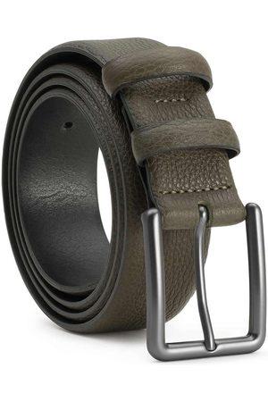 Men's Carbon Neutral Green Brass Handmade Leather Belt Santiago 40in Dalgado