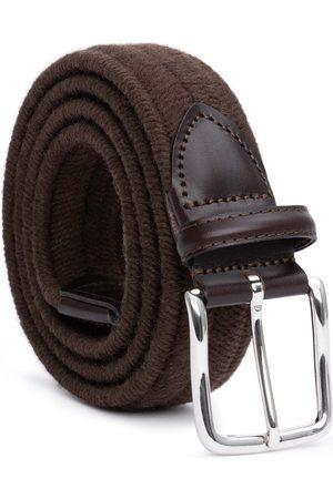 Men Belts - Men's Carbon Neutral Brown Brass Elastic Braided Wool Belt Stefano 44in Dalgado