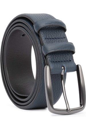 Men's Carbon Neutral Blue Brass Handmade Leather Belt Gaston 36in Dalgado