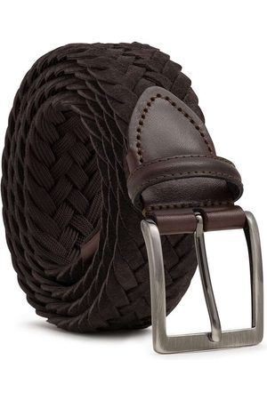 Men's Carbon Neutral Brown Brass Braided Suede Belt Edoardo 38in Dalgado